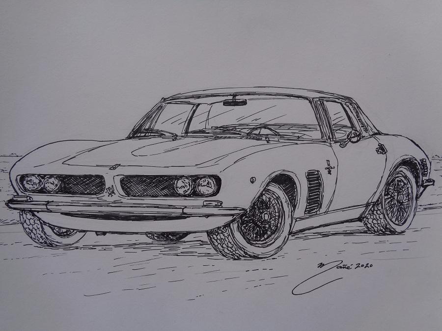 Iso Grifo: Итальянский спорткар 1963 года. Рисунок чернилами Жоана Манье