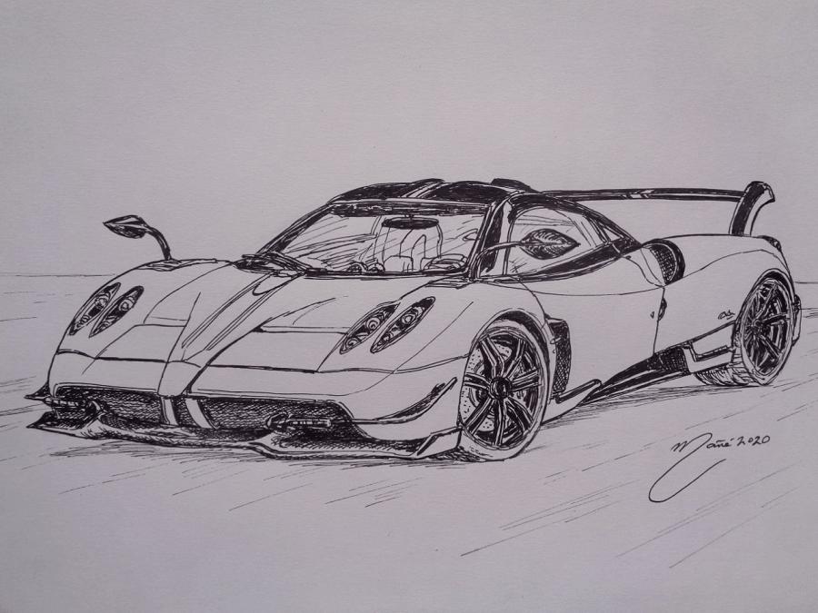 Pagani Huayra. Marker pen drawing by Joan Mañé
