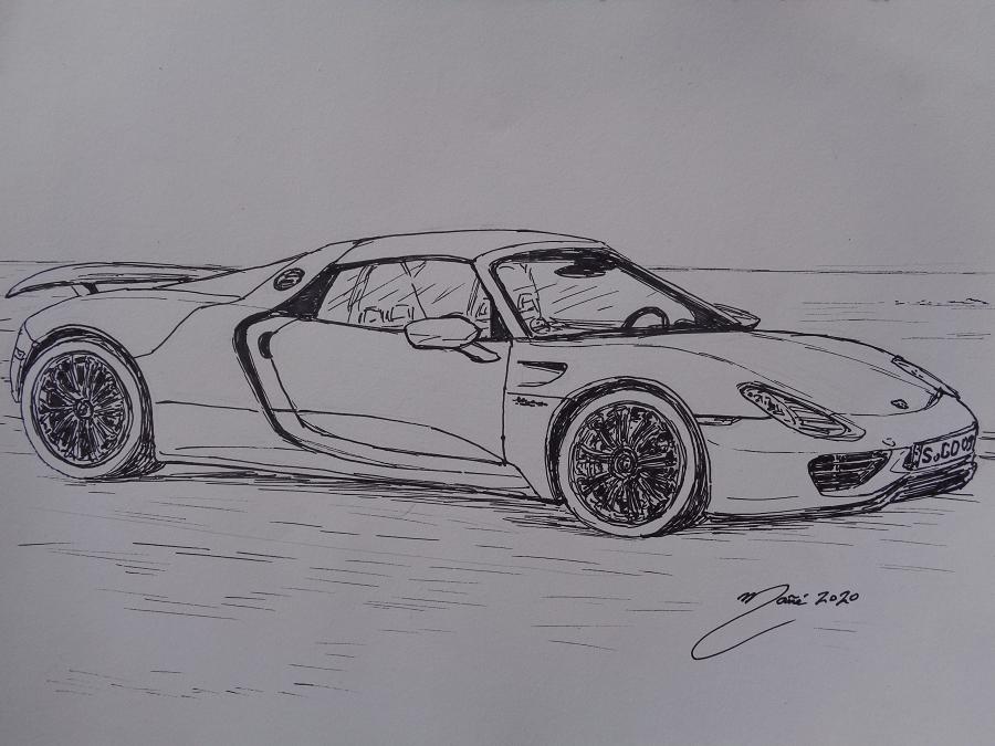 Porsche 918 Spider. Рисунок чернилами Жоана Манье