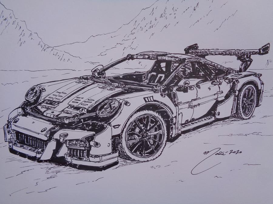 Porsche 911 GT3 RS LEGO Technic. Рисунок чернилами Жоана Манье