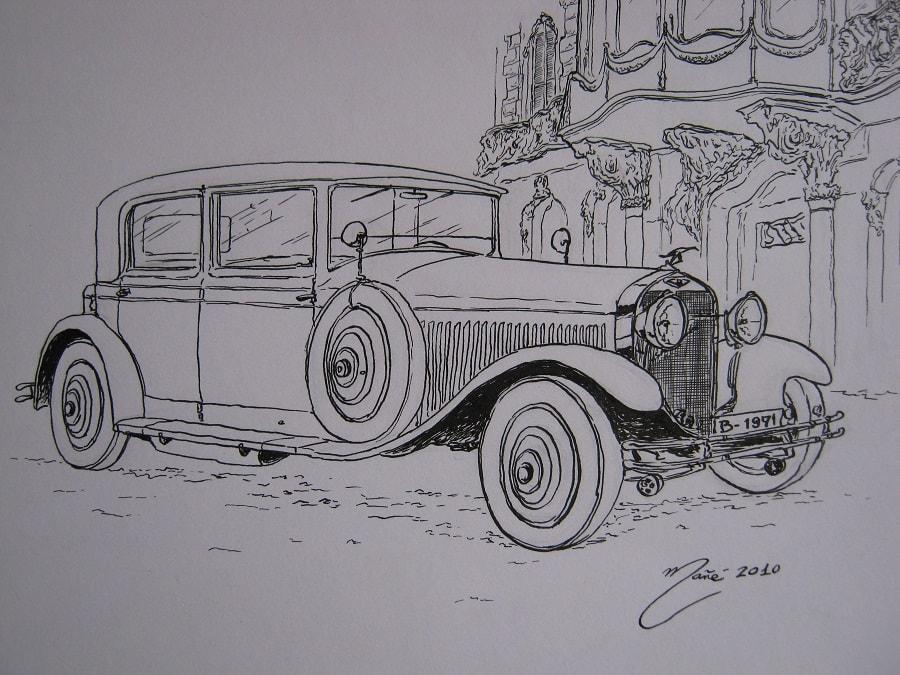 Hispano-Suiza T49 Sports Saloon de 1927. Dessin au stylo par Joan Mañé