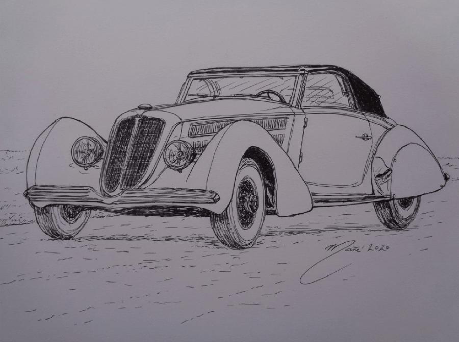 Duesenberg J Graber Cabriolet 1934 года. Рисунок чернилами Жоана Манье
