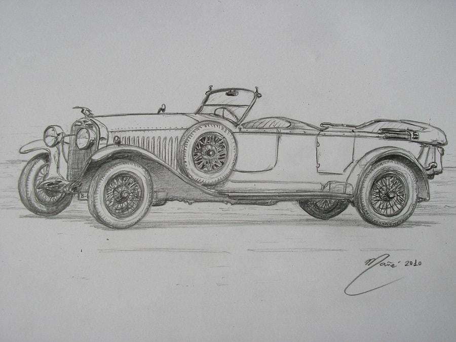 Hispano-Suiza H6B Million-Guiet Dual-Cowl Phaeton 1934 года. Рисунок карандашом Жоана Манье