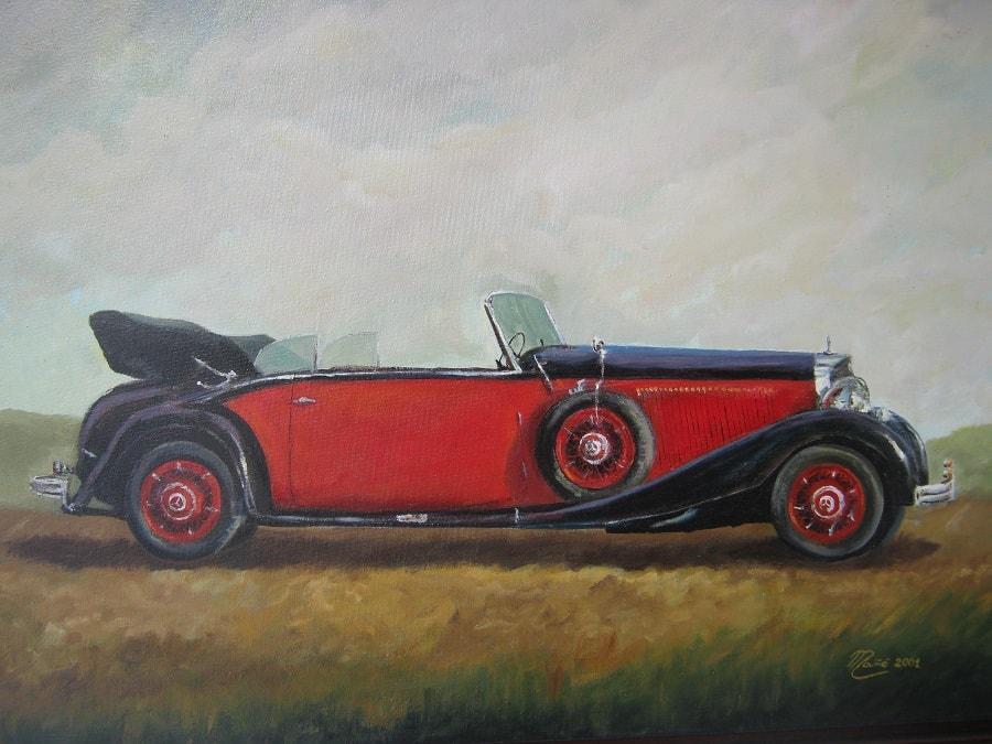Mercedes-Benz 230 N Cabriolet B de 1936. Dessin à l'huile sur toile par Joan Mañé
