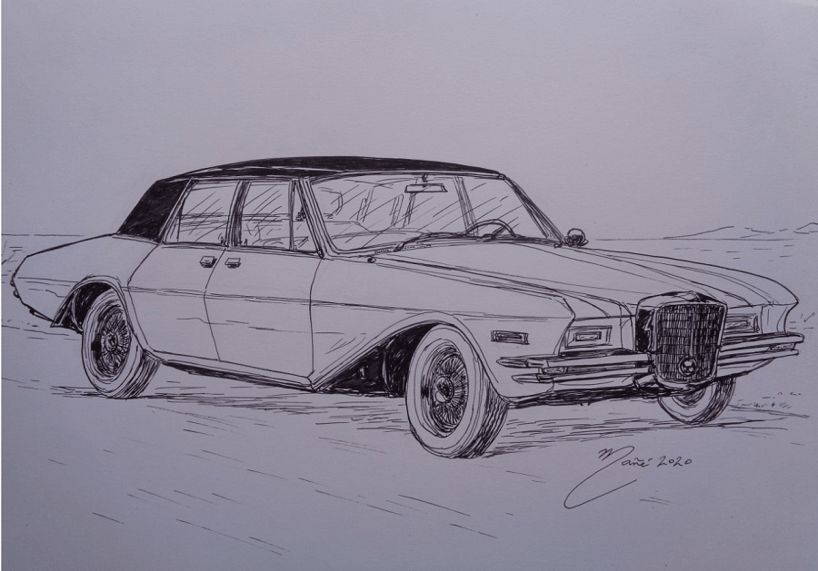 Duesenberg Model D prototype 1966 года. Рисунок чернилами Жоана Манье