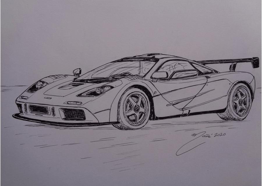 McLaren F1 LM 1994 года. Рисунок чернилами Жоана Манье