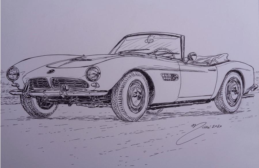BMW 507 (1957). Marker pen drawing by Joan Mañé