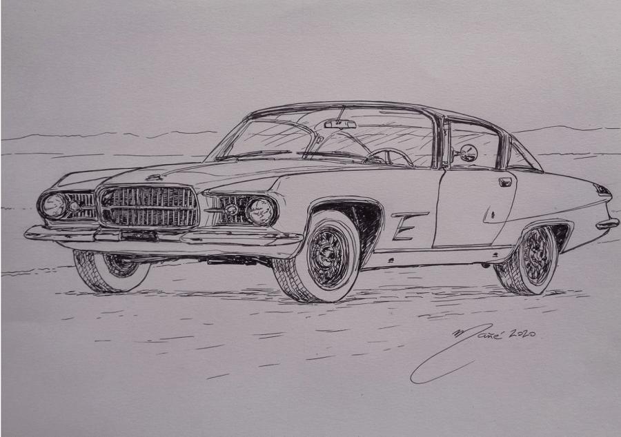 Chrysler Ghia L6.4 Coupé 1962 года. Рисунок чернилами Жоана Манье