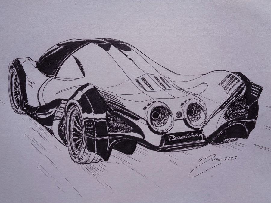 Devel Sixteen. Marker pen drawing by Joan Mañé