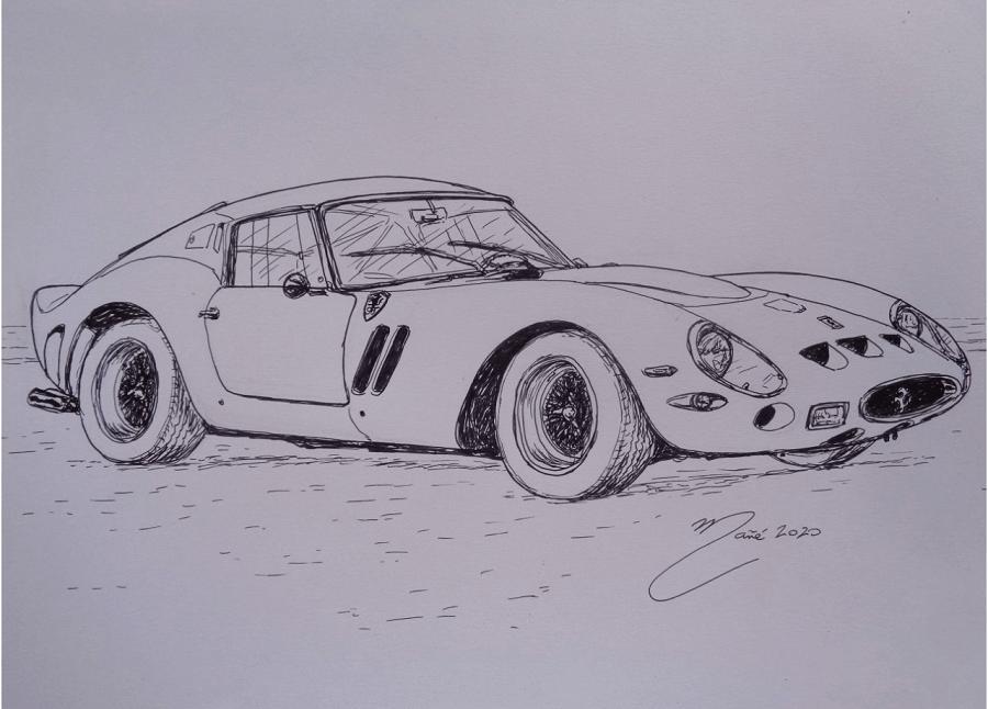 Ferrari 250 GTO 1962 года. Рисунок чернилами Жоана Манье