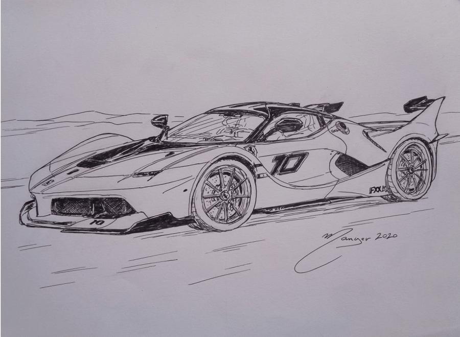 Ferrari FXX-K. Рисунок чернилами Жоана Манье