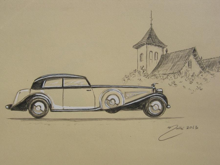 Hispano-Suiza Coupe K6 1934 года. Карандаш и гуашь Жоана Манье