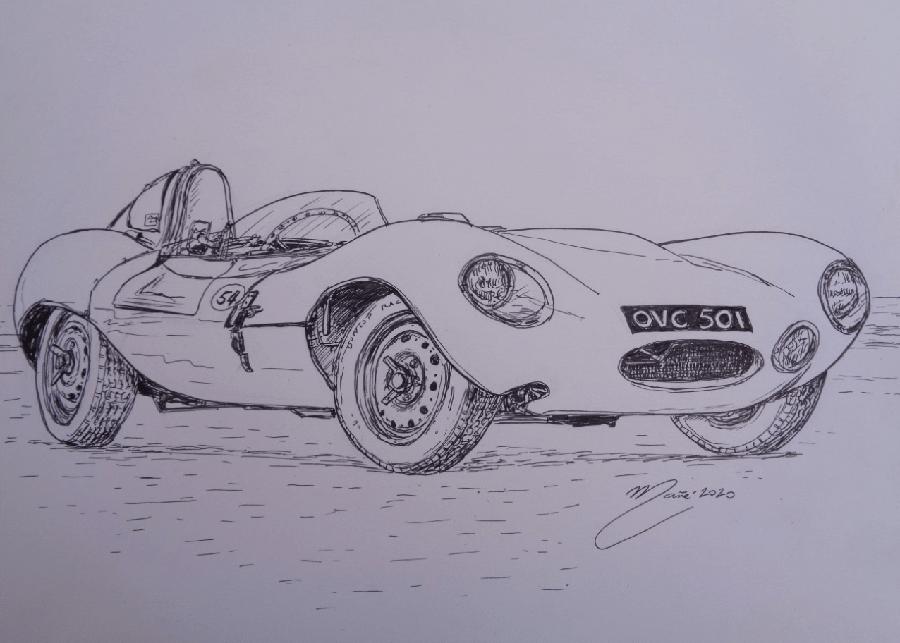 Jaguar D-Type 1954 года. Рисунок чернилами Жоана Манье