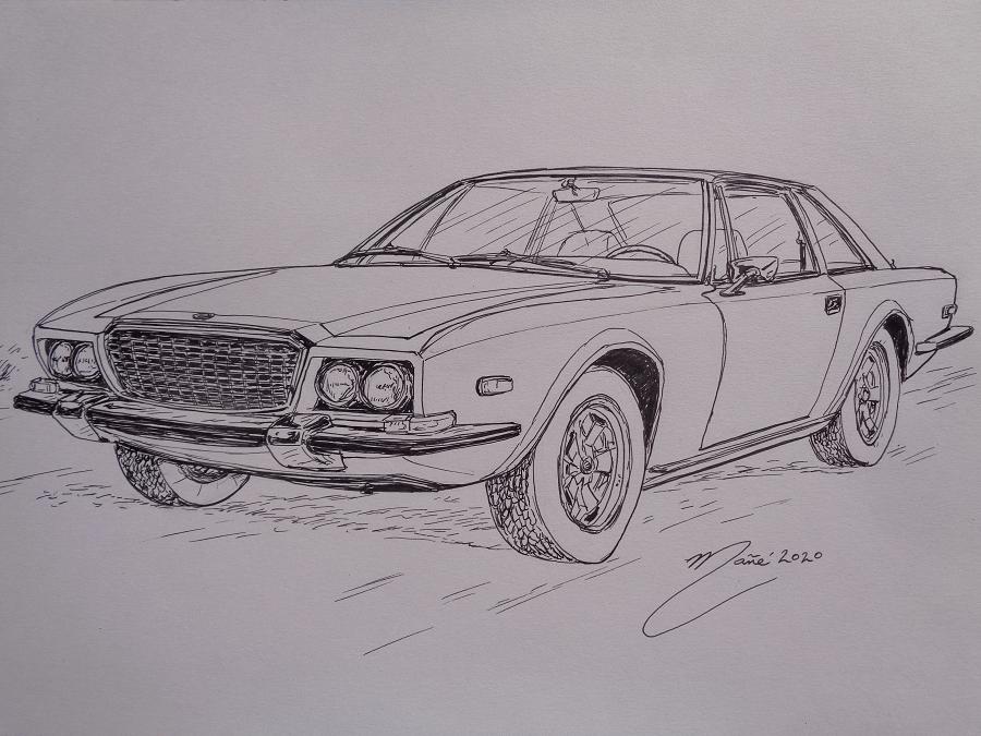 Momo Mirage V8 Coupé (1971). Рисунок чернилами Жоана Манье
