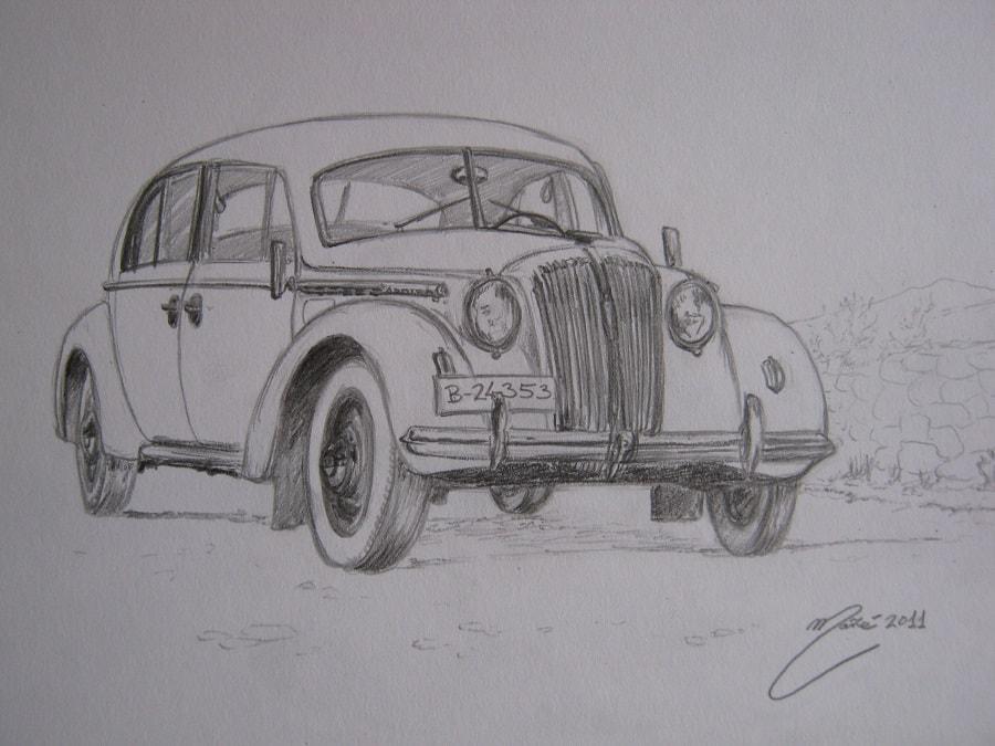 Opel Admiral de 1937. Dessin au crayon par Joan Mañé