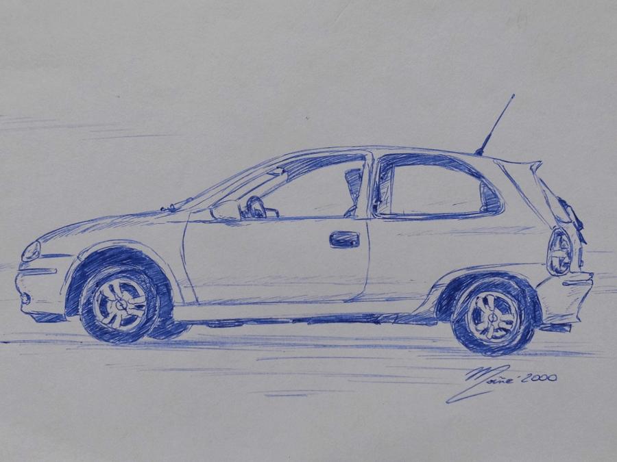 Opel Corsa (1993). Pen drawing by Joan Mañé