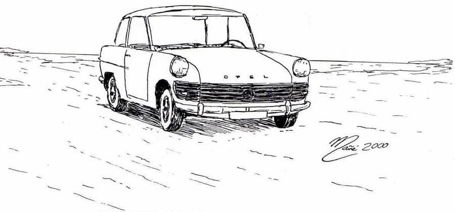 Opel Rekord P2 de 1960. Dessin au marqueur par Joan Mañé