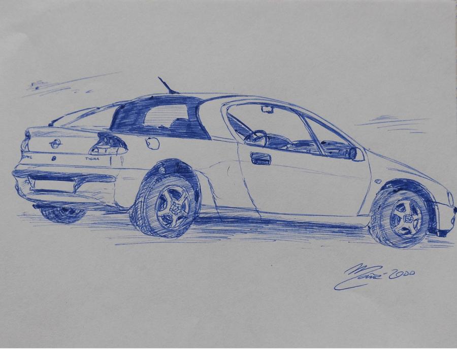 Opel Tigra 1994 года. Рисунок ручкой Жоана Манье