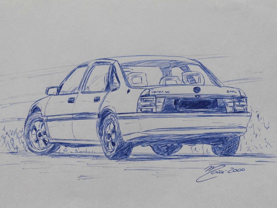 Opel Vectra V6 1992 года. Рисунок ручкой Жоана Манье
