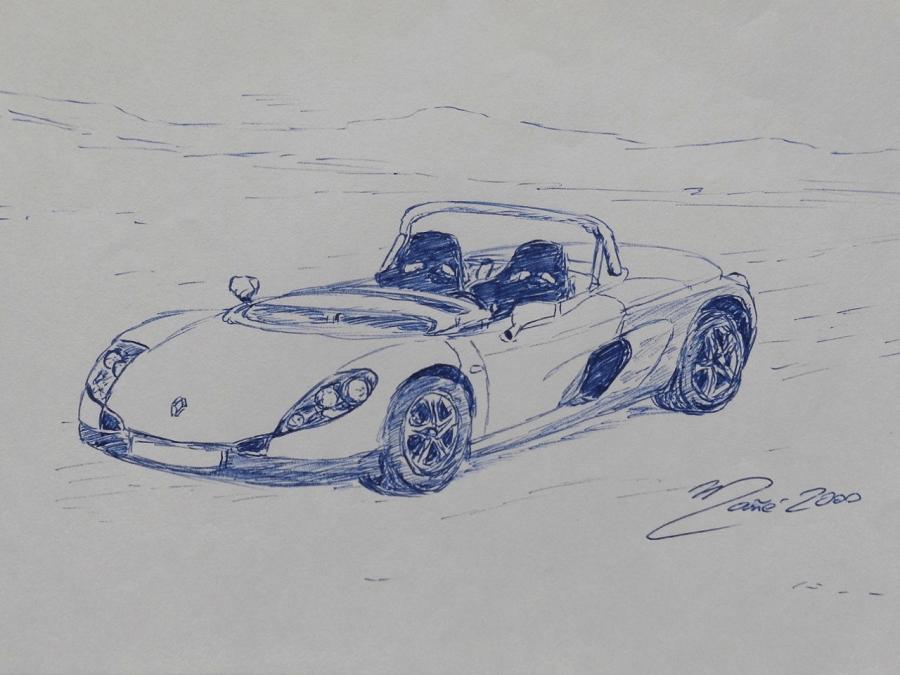 Renault Sport Spider (1996). Pen drawing by Joan Mañé