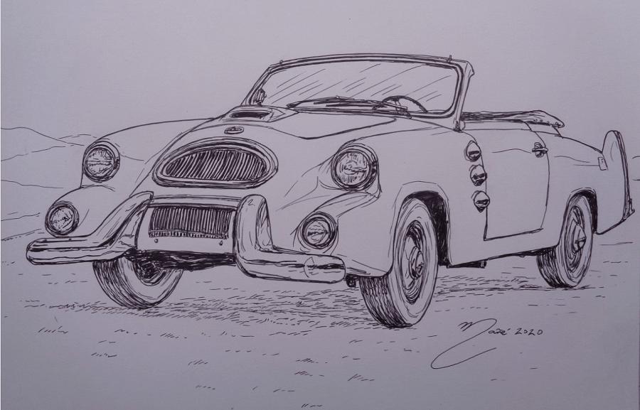 1957 Spohn Convertible. Marker pen drawing by Joan Mañé