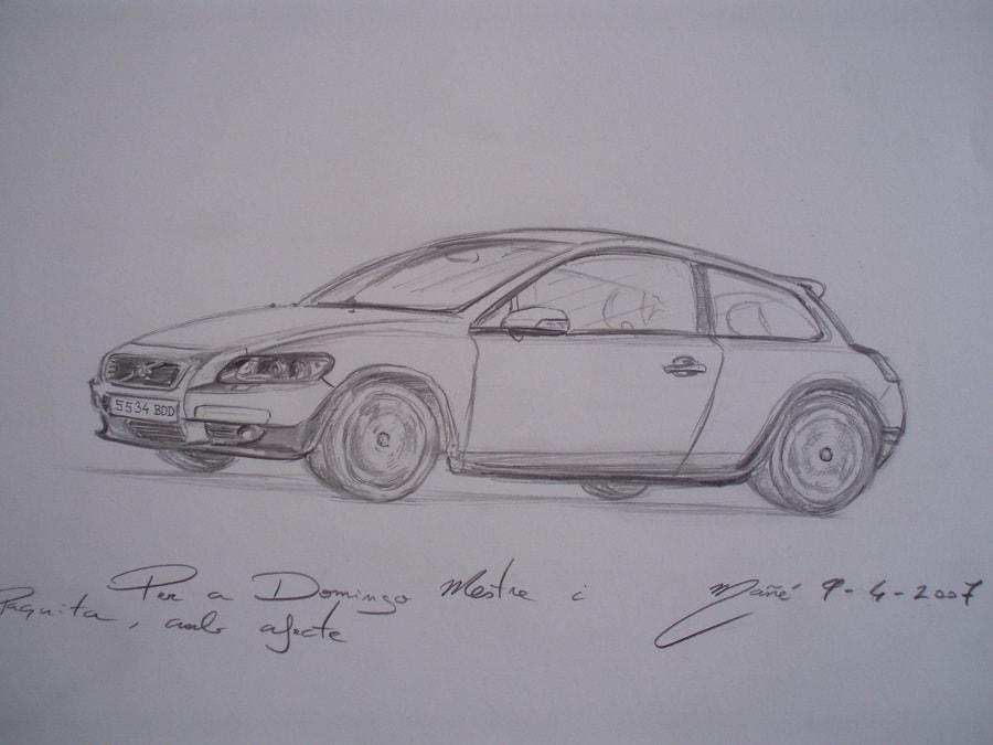 Volvo C30 (2005-2011 модельный ряд). Рисунок карандашом Жоана Манье