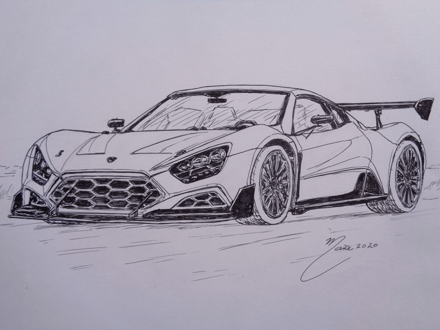Zenvo ST1. Marker pen drawing by Joan Mañé