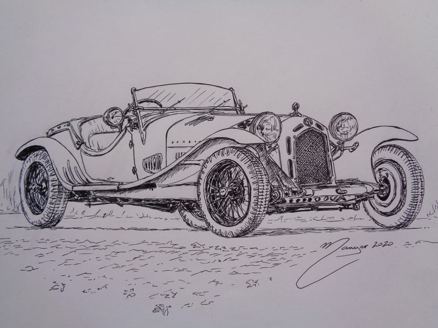 Alfa Romeo 8C 2300 Zagato Spider 1931 года. Рисунок чернилами Жоана Манье