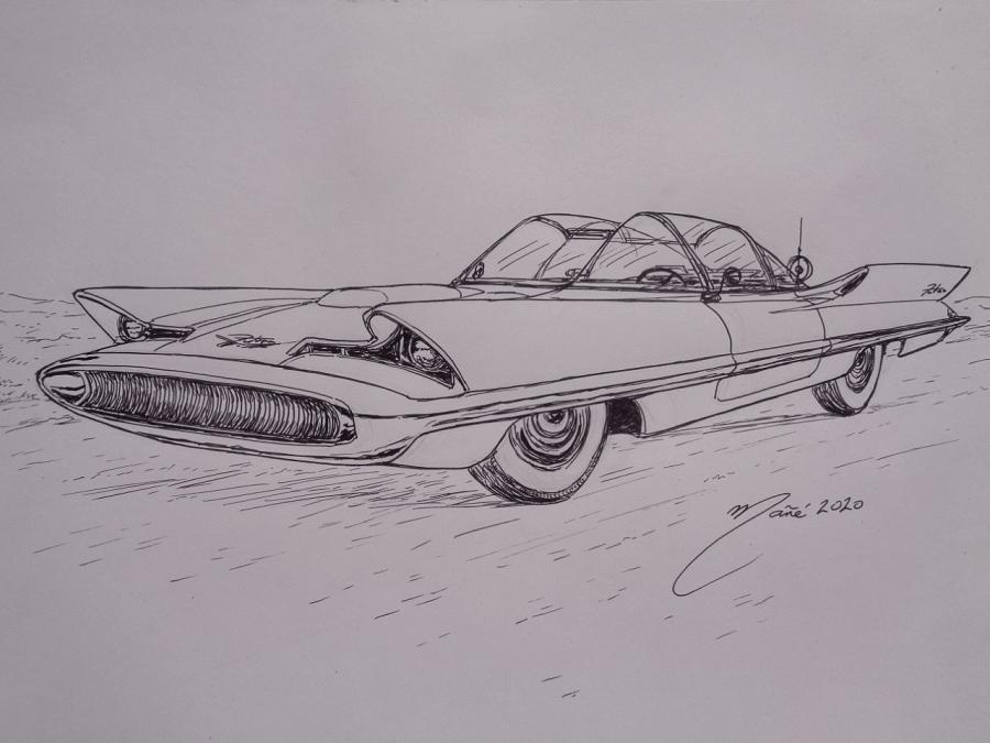 Ford Lincoln Futura 1955 года. Рисунок чернилами Жоана Манье