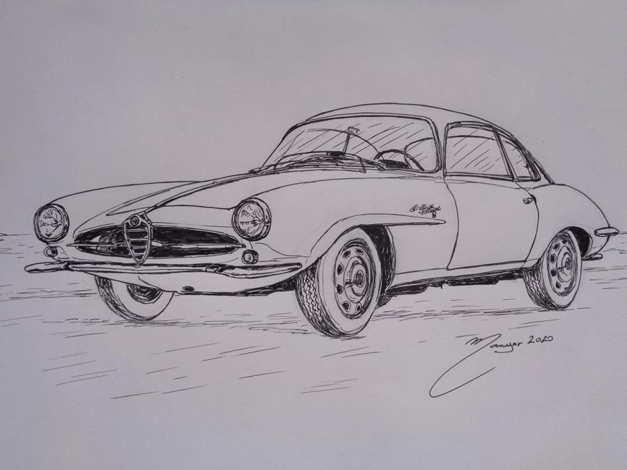 Alfa Romeo Giulietta Sprint Speciale Bertone de 1961. Dessin au marqueur par Joan Mañé