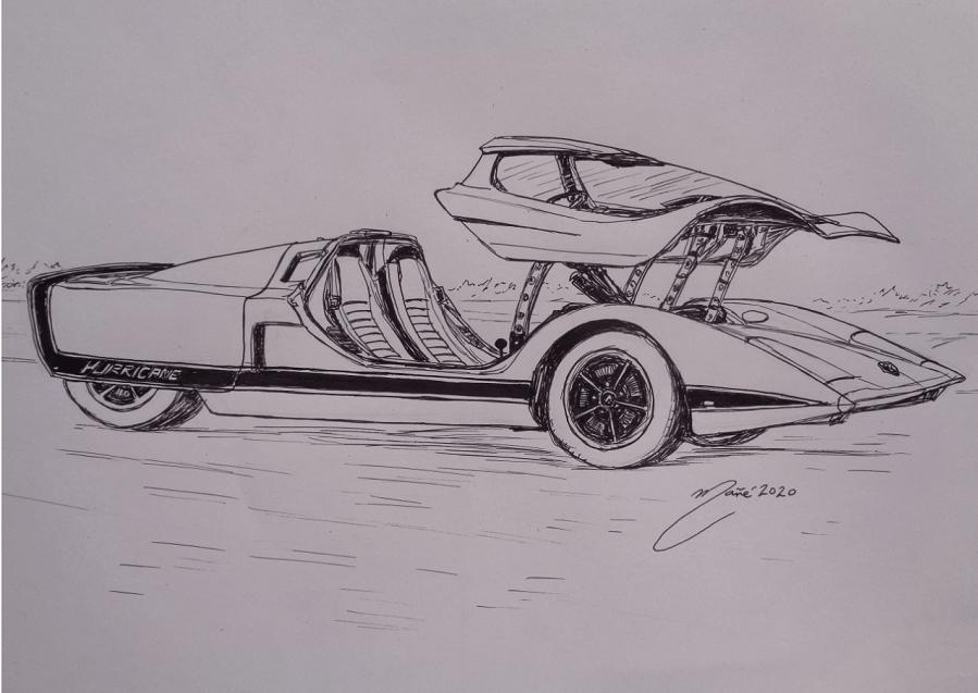 Holden Hurricane 1969 года. Рисунок чернилами Жоана Манье