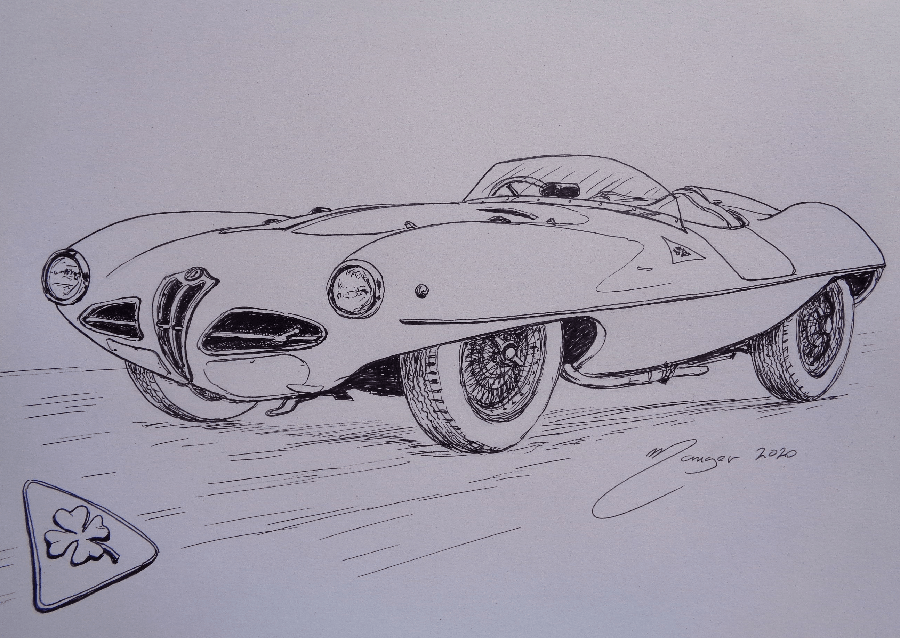"Alfa Romeo 1900 C52 ""Disco Volante"" de 1952. Dessin au marqueur par Joan Mañé"