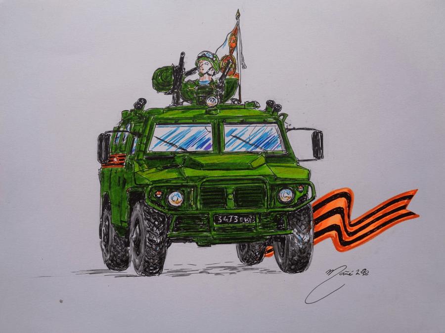 ГАЗ-2975 Тигр. Рисунок ручкой и цветными карандашами Жоана Манье