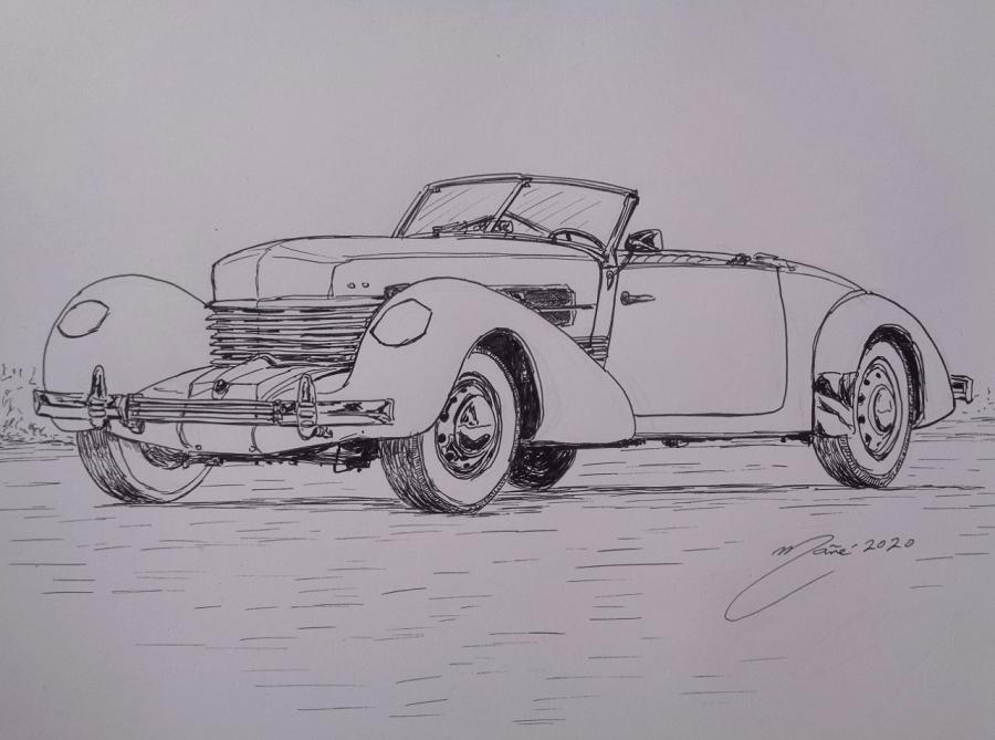 Cord 812 Phaeton Convertible de 1937. Dessin au marqueur par Joan Mañé