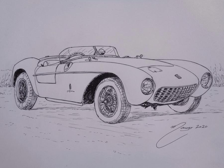 Ferrari 500 Mondial Series I de 1954. Dessin au marqueur par Joan Mañé