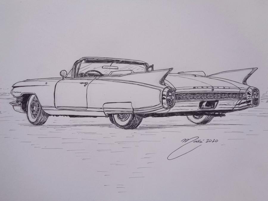 Cadillac Eldorado Biarritz Convertible de 1960. Dessin au marqueur par Joan Mañé