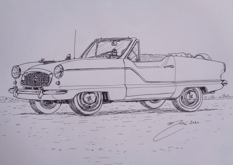 Nash Metropolitan de 1961. Dessin au marqueur par Joan Mañé