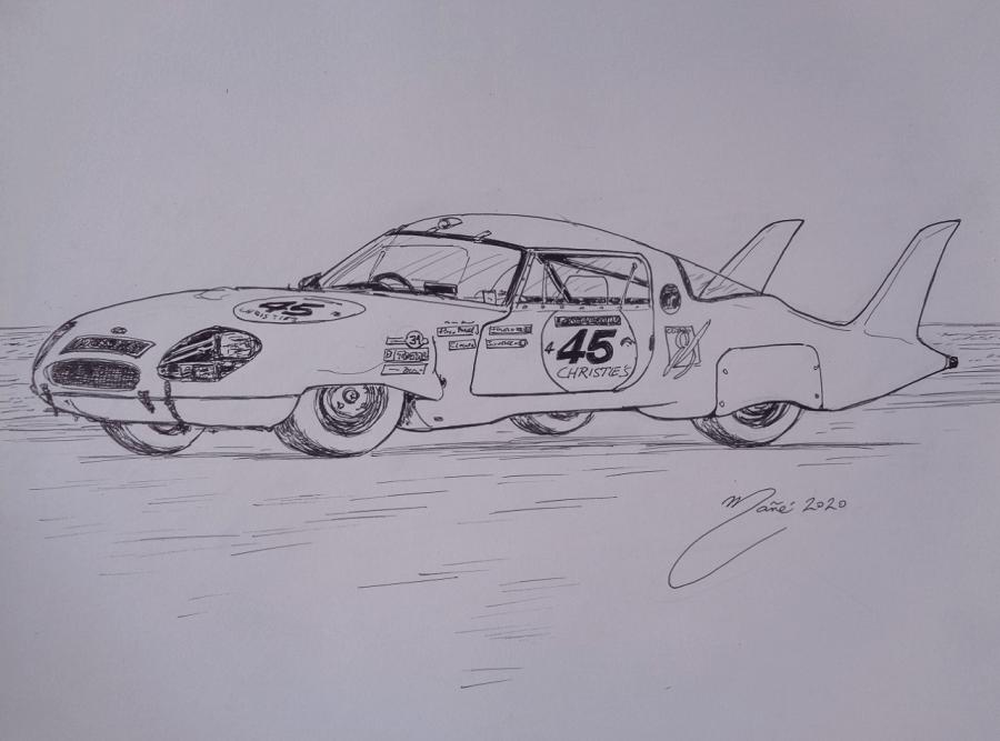 Panhard CD LM64 de 1964. Dessin au marqueur par Joan Mañé