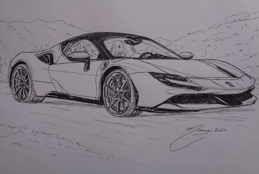 Ferrari SF90 Stradale de 2019. Dessin au marqueur par Joan Mañé