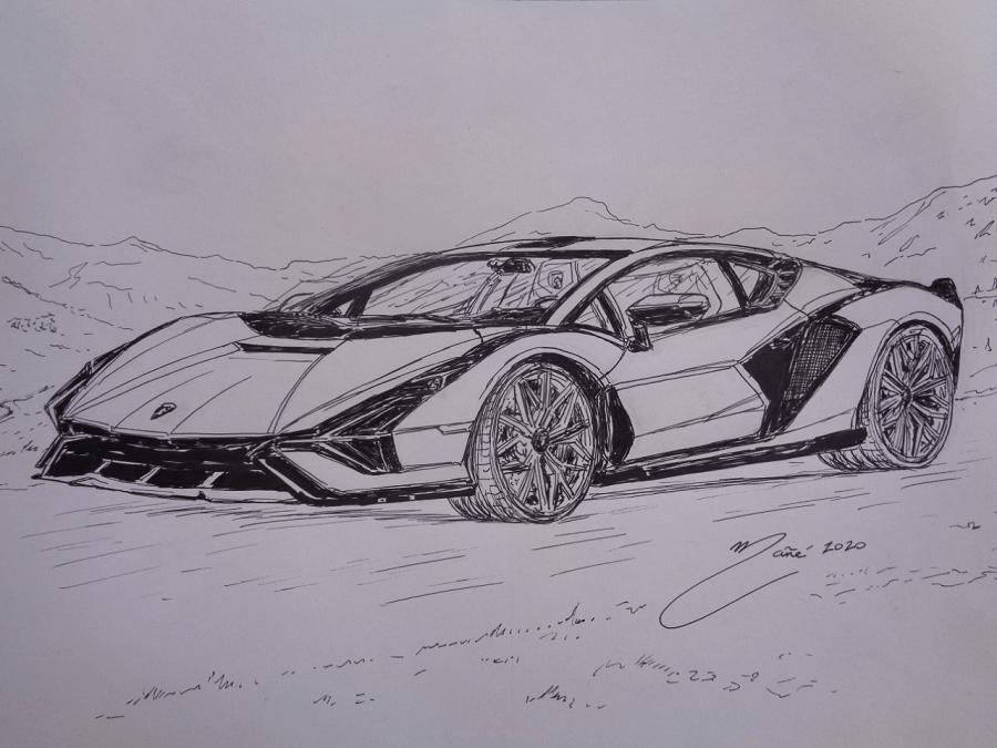 Lamborghini Sián FKP 37 de 2019. Dessin au marqueur par Joan Mañé