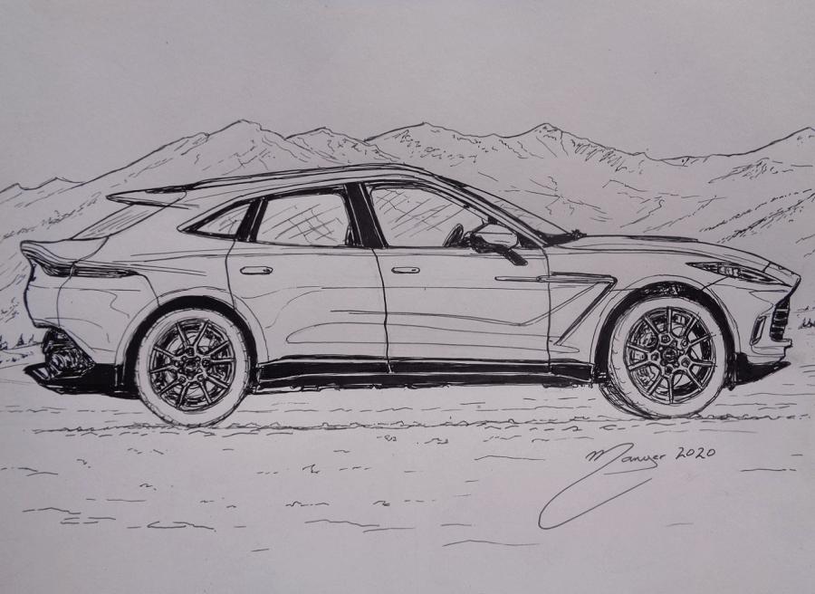Aston Martin DBX de 2020. Dessin au marqueur par Joan Mañé