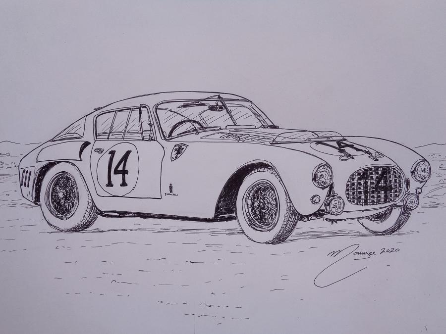 Ferrari 340/375 mm Berlinetta Competizione de 1953. Dessin au marqueur par Joan Mañé
