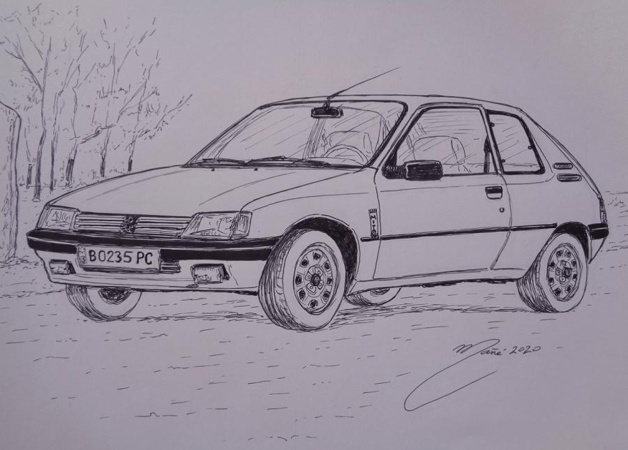 Peugeot 205 MITO de 1994. Dessin au marqueur par Joan Mañé