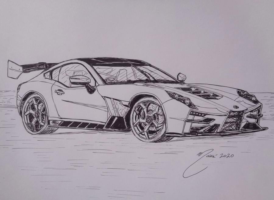 Ginetta Akula sport-car. Fabriqué en Royaume-Uni en 2019. Dessin au marqueur par Joan Mañé