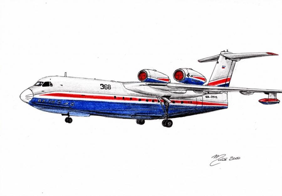 Be-200 Altair. Un avió anfívio polivalent soviètic dissenyat per la companyia Beriev Aircraft i fabricat per Irkut. Dibuix de tinta i llapis