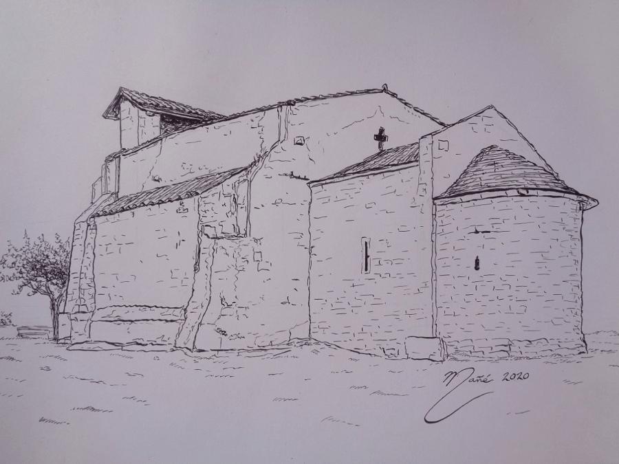 Église de Santa Maria de Vilamacolum du XII siècle à Alt Empordà (Catalogne). Dessin à la plume par Joan Mañé