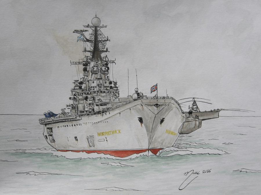 """Le troisième porte-avionsà propulsion classique de Classe Kiev / Krechyet (aussi appelé Projet 1143) : """"Новоросийск"""" (Novorossiisk). Entré en service dans la Marine soviétique, puis dans la Marine russe, entre 1982 et 1993. Dessin de Joan Mañé"""