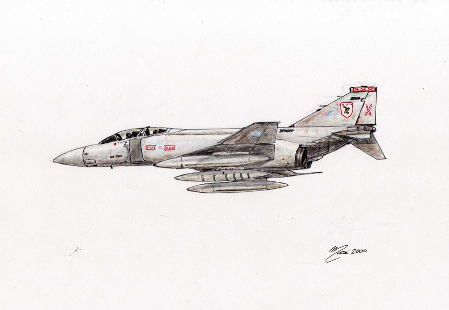 F-4 Phantom FGR Mk 2. UK Royal Air Force (RAF). A tandem two-seat, twin-engine, all-weather, long-range supersonic jet interceptor and fighter-bomber originally developed for the United States Navy by McDonnell Aircraft. First entered service in 1960 with the U.S. Navy. Ink pen drawing and pencil colors by Joan Mañé