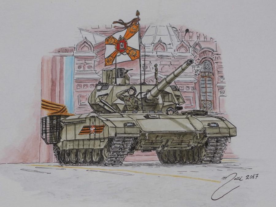 Armata (universal combat platform T-14, product 148), Russia. Power: 1500 HP. Watercolor by Joan Mañé