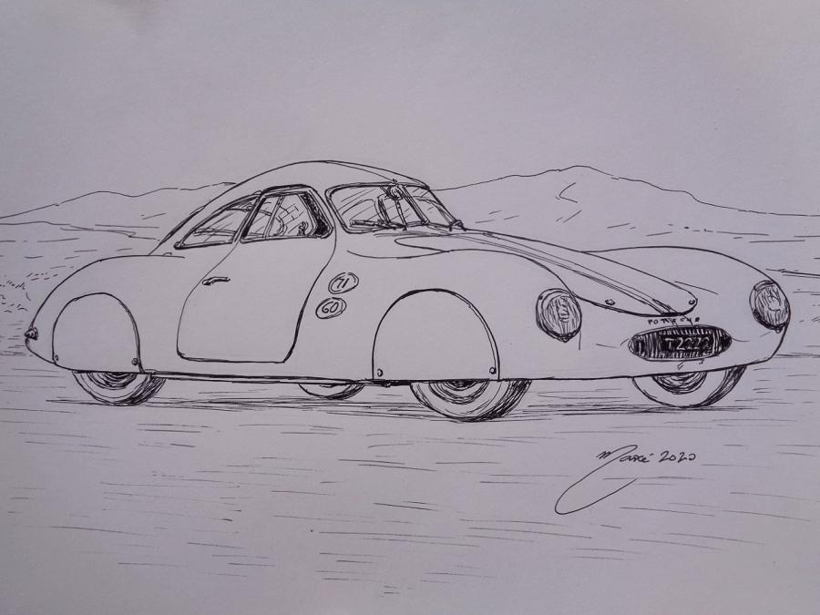 Premier Porsche Type 64 de 1939. Dessin au marqueur par Joan Mañé